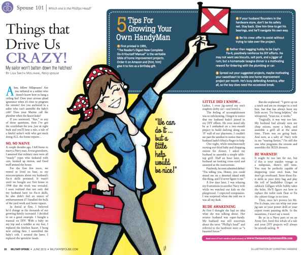 My column in the June issue of Military Spouse magazine!